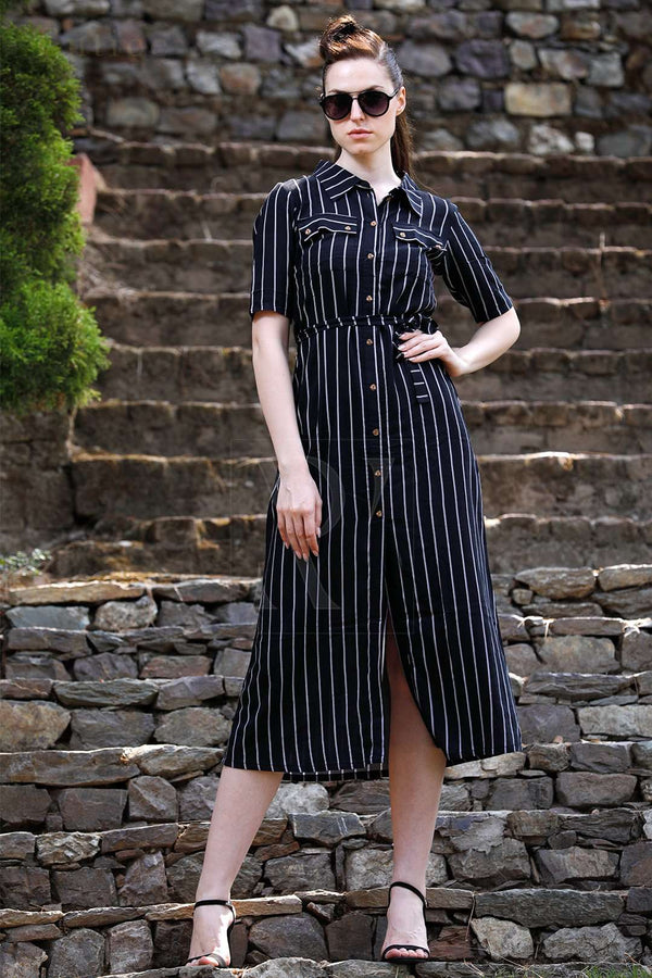 Striped Black Shirt-Style Midi Dress