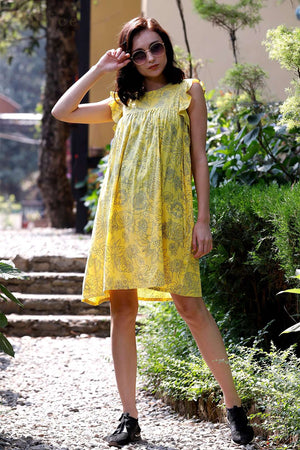 Yellow Floral Ruffle Sleeve Gathered Dress