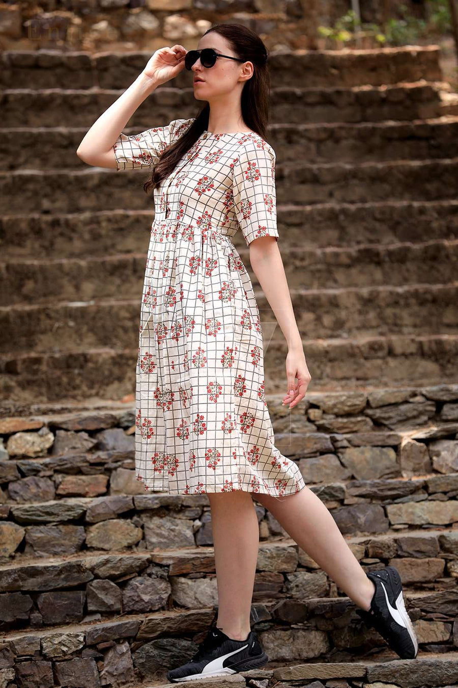 Off-White Checkered Floral Cotton Dress