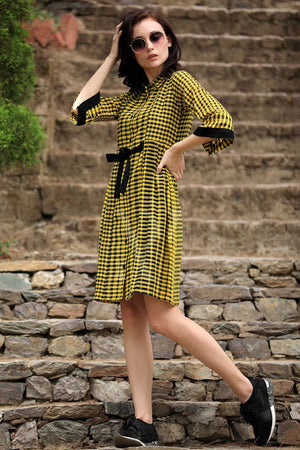 Yellow & Black Shirt Style Dress