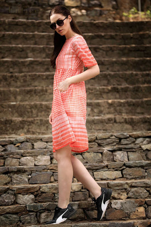 White & Orange Shirt Style Checkered Dress