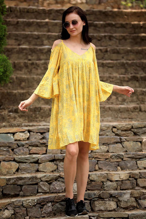 Yellow Floral Cold-Shoulder Tunic Dress
