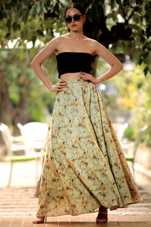 Blossom Digital Printed Flaired Long Skirt