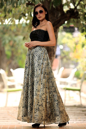 Black Rose Digital Printed Flaired Long Skirt
