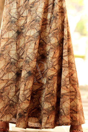 Earthy Digital Printed Flaired Long Skirt