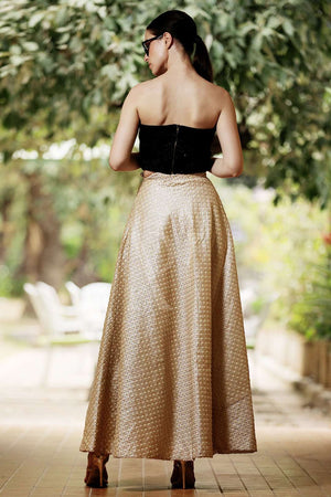 Dice Beige Embroidered Flaired Long Skirt