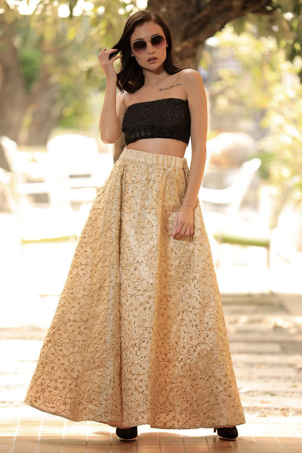 Beige Golden Mughal Motif Embroidered Flaired Long Skirt