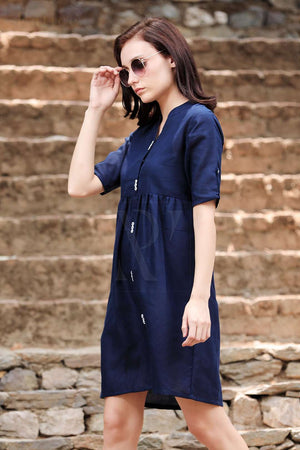 Navy Blue Shirt Style Gathered Tunic