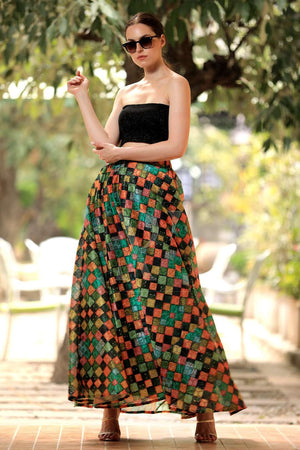 Multicolour Checkered Eyelet Digital Printed Flaired Long Skirt