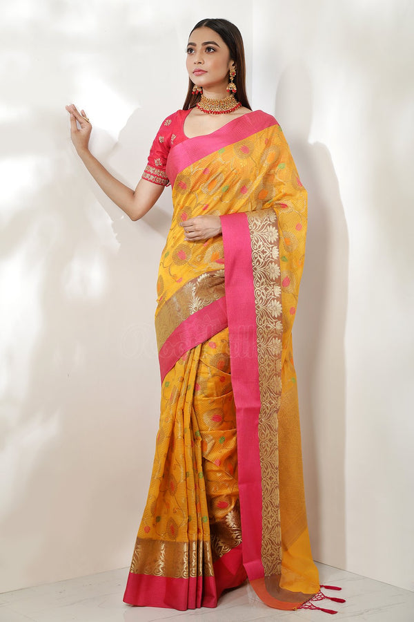 Dark Yellow Kora Check Cotton Saree With Zari