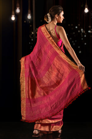 Magenta Linen Saree With Zari Border