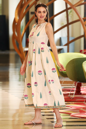 Off-White Mughal Pink Floral Printed Sleeveless Dress
