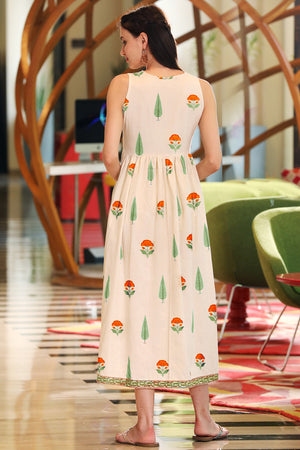 Off-White Mughal Orange Floral Printed Sleeveless Dress