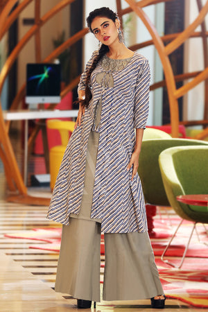 Leheriya Jacket With Kurta & Palazzo Set