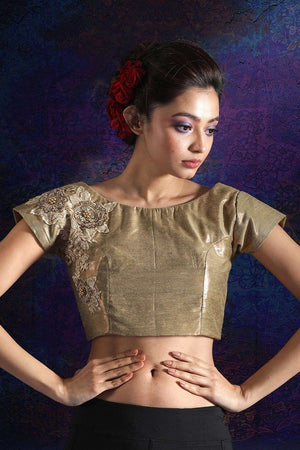 Copper Shimmer Tissue Blouse With Embroidery Blouse Roopkatha - A Story of Art