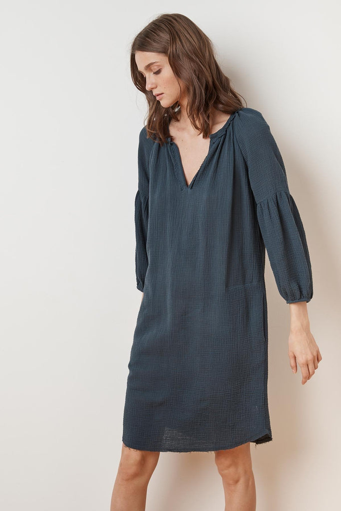 LAVERNE SOFT COTTON GAUZE PEASANT DRESS
