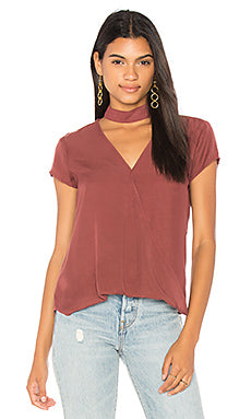 Choker Neck Wrap Top Vintage Wine
