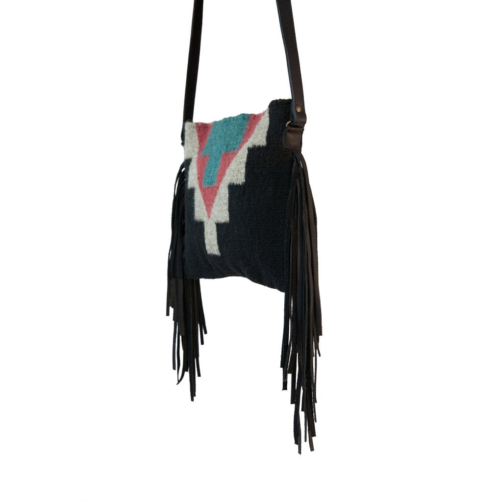 Midnight Leather Fringe Bag
