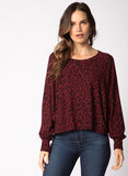 Red Haute Crop Batwing Sweater - Cheetah print
