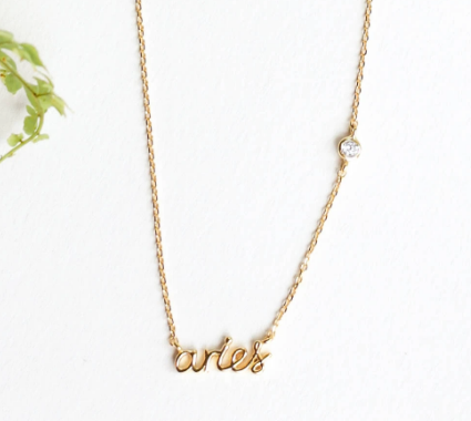 ZODIAC NAMEPLATE NECKLACES- Aries