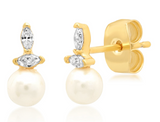 PEARL STUD WITH DOUBLE TEAR DROP CZ