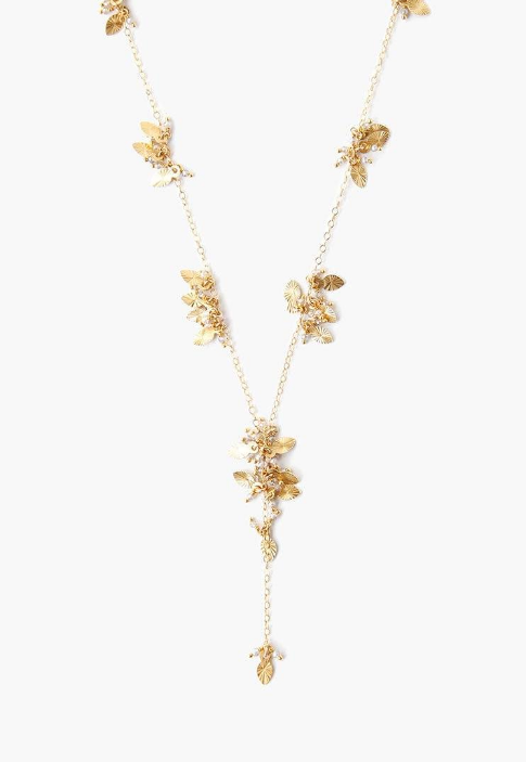 Gold Mix Leaf Charm Y Necklace