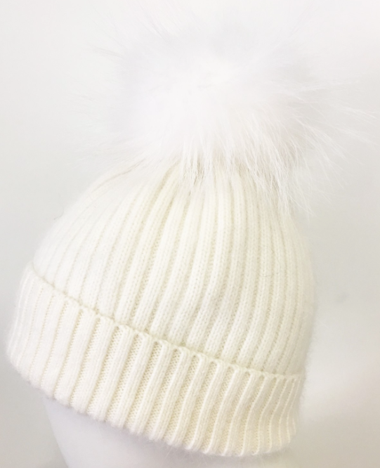 Cashmere And Wool Pom Hat,white