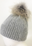 Cashmere And Wool Pom Hat, Dove