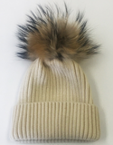 Wool Ribbed Knit Hat Genuine Fur Pom Pom
