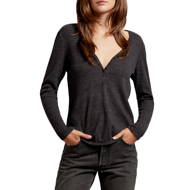 Gray Henley Long Sleeve Thermal