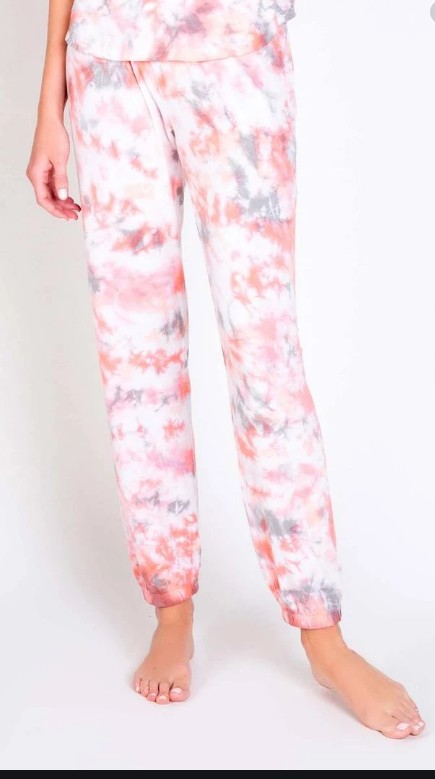 Colored Clouds PJ Set Coral