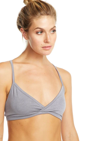 Cross Back Glitter Bralette Steel