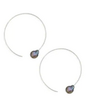 Chan Luu Fresh Water Pearl Hoops - Peacock Blue