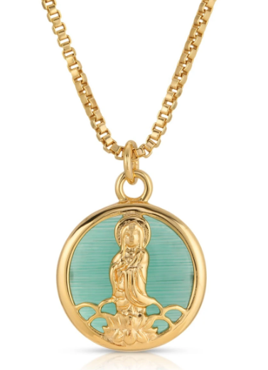 Joy Legend Charm Necklace - Gold/Jade
