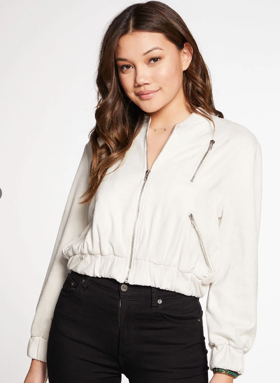 STRETCH FAUX SUEDE LONG SLEEVE CROPPED BOMBER JACKET