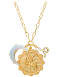 Zodiac Coin Necklace with Opal Moon Charm Capricorn