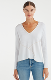 DIRECTIONAL RIB BOXY V-NECK TOP