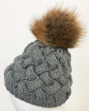 Cable Knit with Genuine Fur Pom