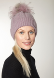 Cable Knit Beanie With Fur Pom