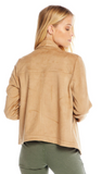 STRETCH FAUX SUEDE LONG SLEEVE DRAPE FRONT JACKET