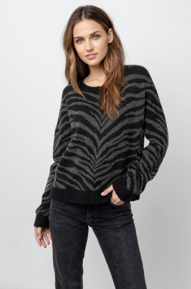 CHANCE SWEATER - CHARCOAL TIGER STRIPE