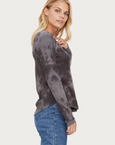 Briann Tie Dye Thermal Henley - Charcoal