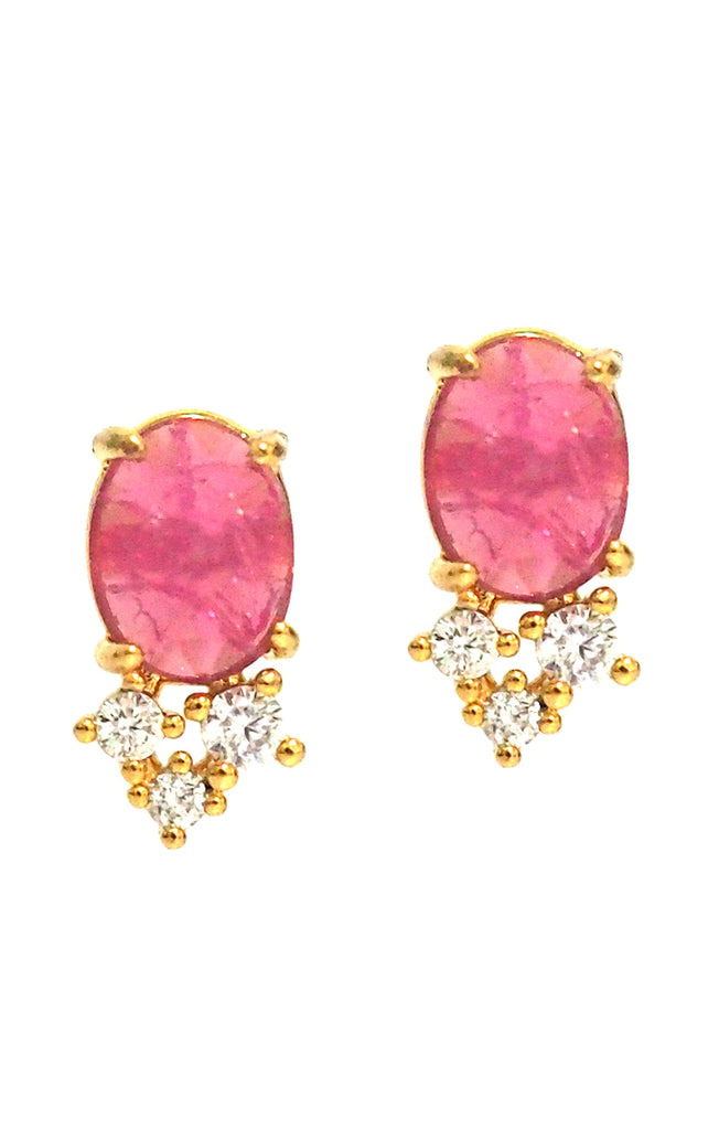 colored stone gold studs