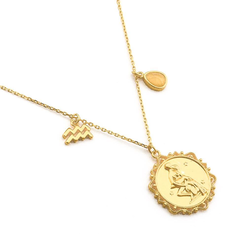 Engraved virgo necklace