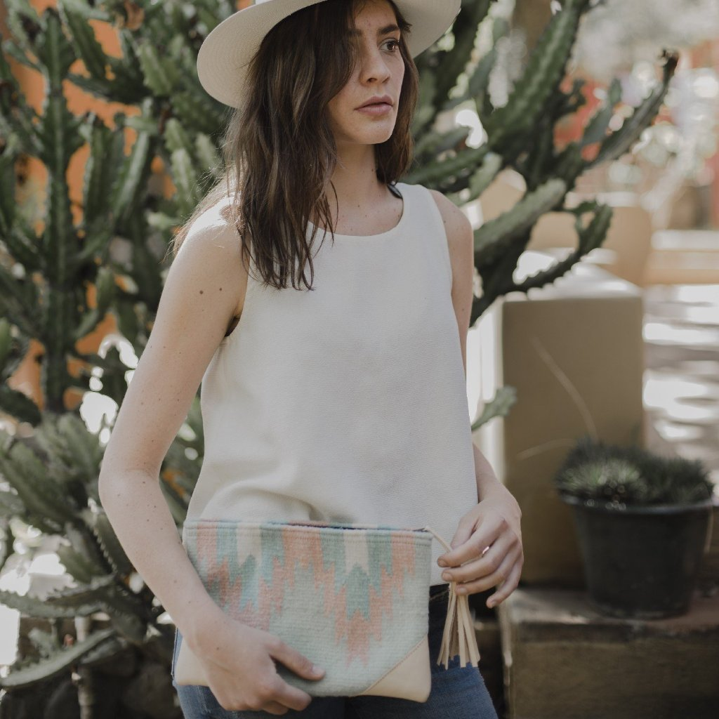 Twin Agave Leather Wool Clutch