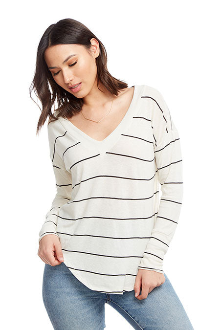 Chaser Gauzy Deep V-Neck Top