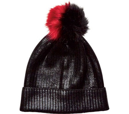 Cuff Beanie with Faux Fur Pom