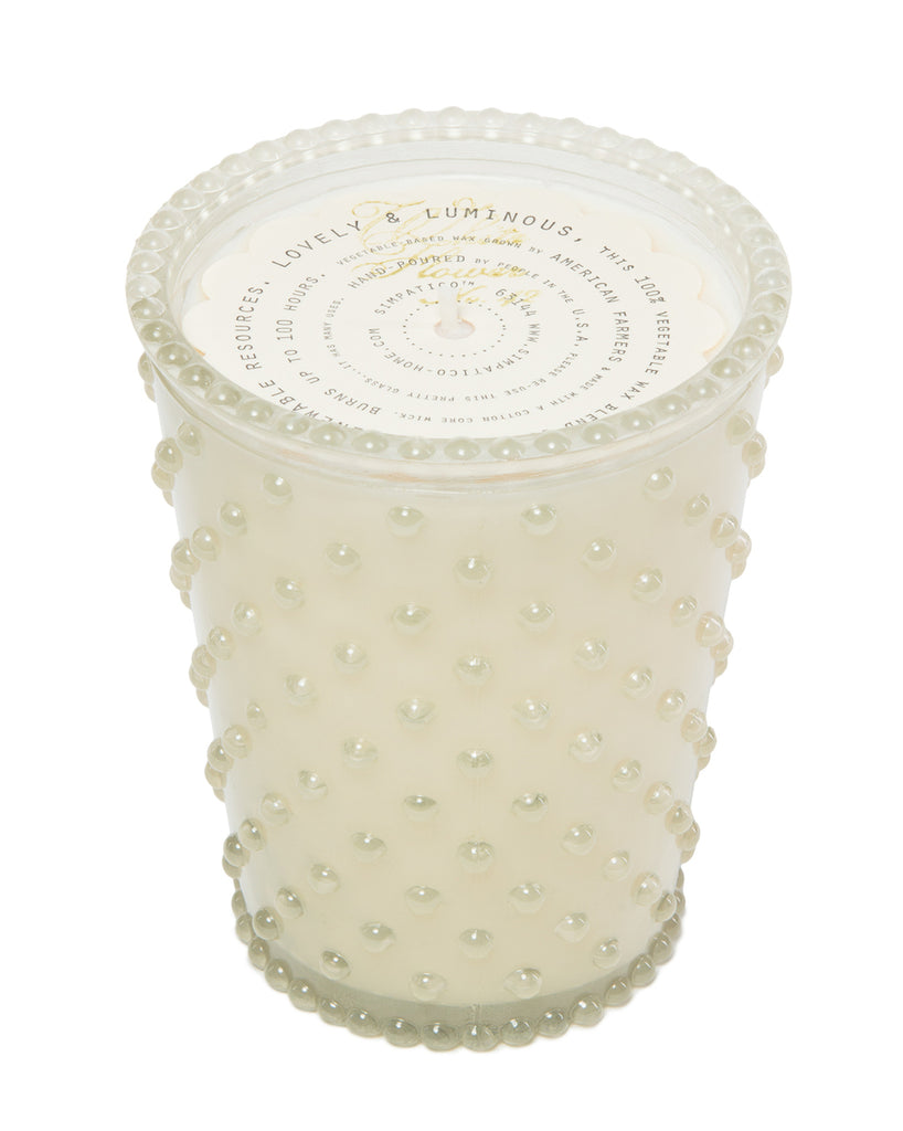 WHITE FLOWER HOBNAIL GLASS CANDLE, 16oz