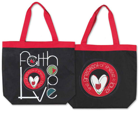 TOTE CANVAS BAG -FAITH, HOPE AND LOVE