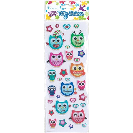 3D PUFFY STICKER - OWLS